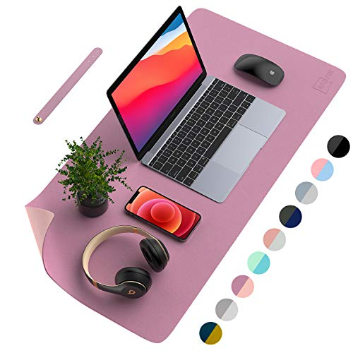 AFRITEE Desk Pad Protector Mat - Dual Side PU Leather Desk Mat Large Mouse Pad Waterproof Desk Organizers Office Home Table Decor Gaming Writing Mat Smooth (Purple/Pink, 31.5' x 15.7')