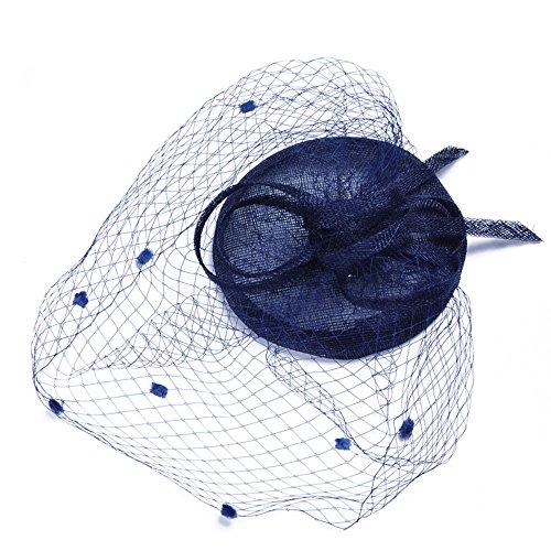 Heqianqian Chapeau Fascinant Chapeau De Derby De Fleur De Filet De Voile Net Chapeau avec Clip Et Bandeau pour Les Femmes Pince à Cheveux de Mariée (Color : Dark Blue)