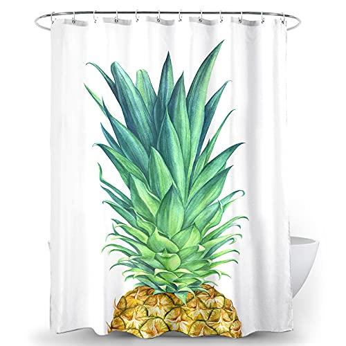 BECAN Ananas-Duschvorhang Wasserfarben Ananas tropische Früchte Grün Gelb prägnantes Design Polyester Stoff Wasserdicht Badezimmer Duschvorhang 183 x 183 cm mit 12 Haken