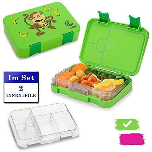 TAKWAY Kinder Lunchbox mit Fächern (4 oder 6)   Set mit 2 Innenteilen   Bento Box auslaufsicher und robust   Kindergarten Brotdose mit Unterteilung (grün)