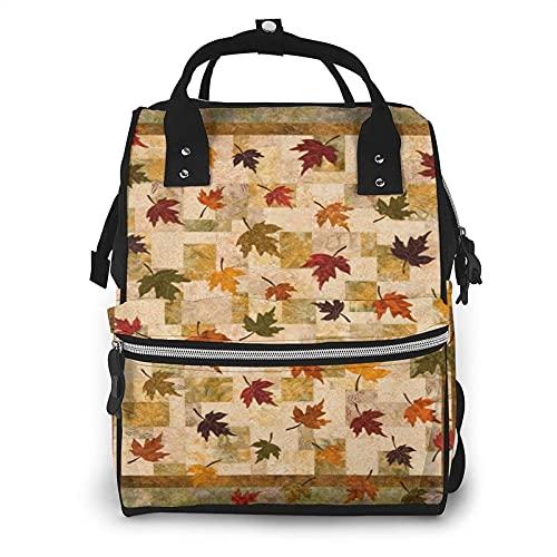 Otoño hojas de diseño vintage bolsa de pañales multifunción bolsas de pañales para el cuidado del bebé impermeable ancho abierto mochila de viaje para la organización