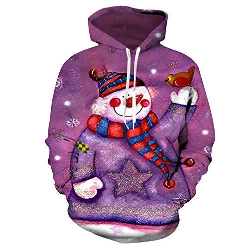 ONE-zl Sweat À Capuche 3D Fantaisie Homme Femme Grosse Poche Pull Fantaisie pour Christmas Sweat-Shirt Enfant,160cm/62.99in