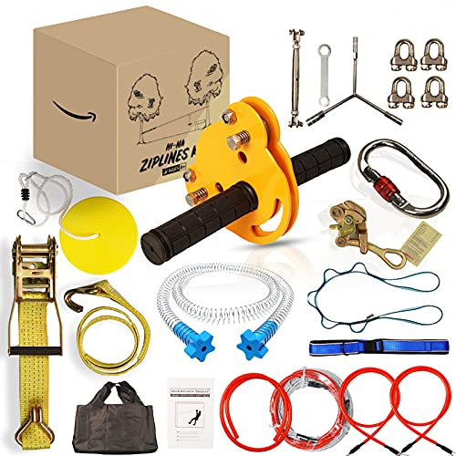 MULMART Zipline Kits for Backyard with Ratchet Straps Cable Tensioning Kit,1/4In Zip Line with 304 Stainless Steel Spring Brake,100 Feet Zipline for Kids and Adults Outdoor with Adjustable Zip Lines