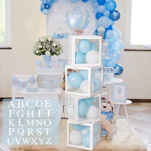 Geburtstagsfeier Baby Shower Dekorationen für Jungen Mädchen - 4PCS Weiße Transparente Luftballon Boxen mit A - Z Buchstaben, Ballonboxen für Babyparty, Geschlecht Offenbaren