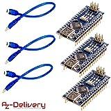 AZDelivery 3 x Nano V3.0 CH340 Chip Soldado Versión mejorada con cable USB 100% compatible con Arduino Nano V3 con eBook incluido