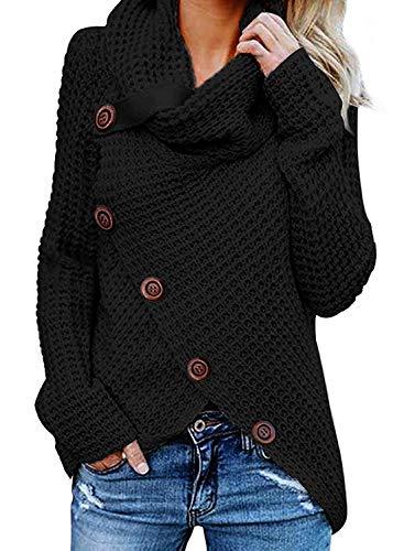 Yidarton Pullover Damen Warm Asymmetrische Strickpullover Rollkragenpullover Solid Wrap Gestrickt Langarmshirts Oberteile Causal (B-Schwarz, M)