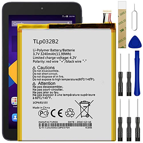 Replacement Battery Compatible with T-Mobile Alcatel OneTouch Pop 7 P310A/pixi 7 9006W,TLp032B2 Battery with Adhesive Tape Tool Repair Kit