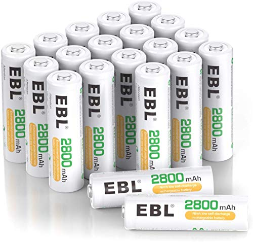 EBL 2800mAh Ni-MH Rechargeable AA Batteries - 20 Counts High Capacity AA Battery with Batteries Storage Cases