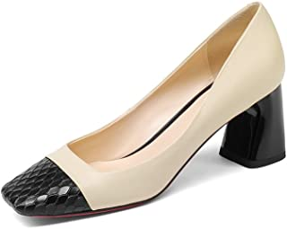 Genuine Leather Women's Square Toe Chunky Heel Two Tone Handmade Unique Pump Shoes
