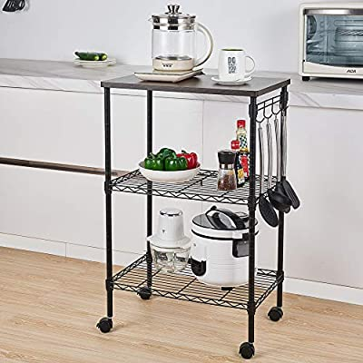Henf 3-Tier Rolling Kitchen Microwave Cart with Hooks, Kitchen Baker's Rack Wire Utility Cart Storage Rack on Wheels by Henf