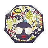 LIUBT - Paraguas con diseño de calavera de azúcar, 3 pliegues automáticos, cierre abierto, sol, lluvia y rayos UV