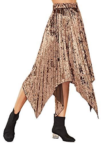 HZSONNE Women's Solid Velvet Curved Hem Pleated A-Line Luster Retro Luster Elastic High Waist Midi Flare Swing Skirt Jupe Gold