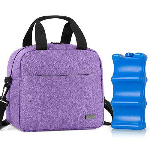 Teamoy Breastmilk Cooler Bag with Ice Pack, Travel Baby Bottle Carrier Tote Bag Fits Up to 6 Large 9 Ounce Bottles, Purple