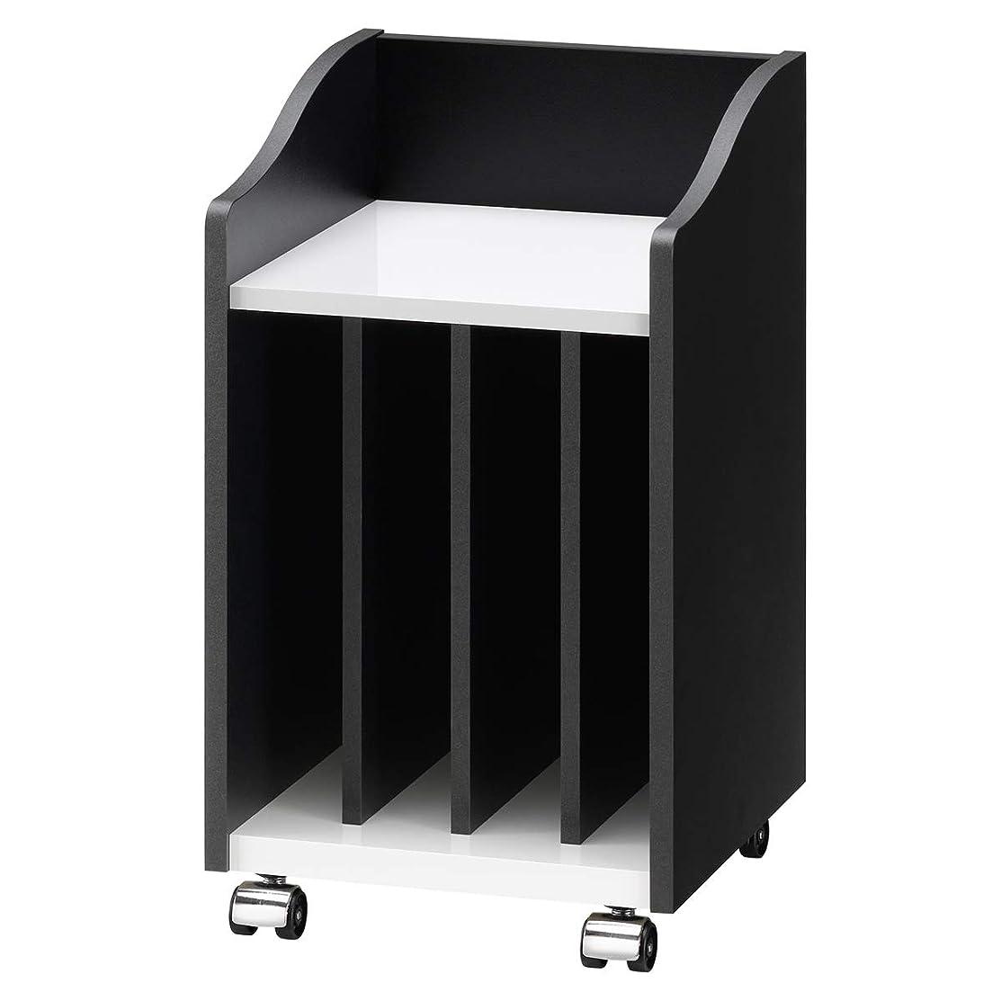 ブラスト保守的企業朝日木材加工 楽譜収納 PIANO WAGON 幅30cm 奥行29cm 高さ52cm ブラック×ホワイト 完成品 AS-PW30