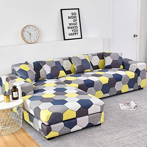 Fundas de sofá Chaise Longue Impresas en Forma de L para Sala de Estar Protector de sofá Fundas elásticas Antipolvo para sofá de Esquina A13 de 4 plazas