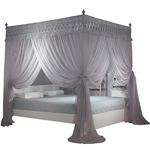 Nattey 4 Corners Post Canopy Bed Curtain for Girls & Adults- 4 Openings Bed Canopies -Bedroom Decoration Accessories(King,Gray)