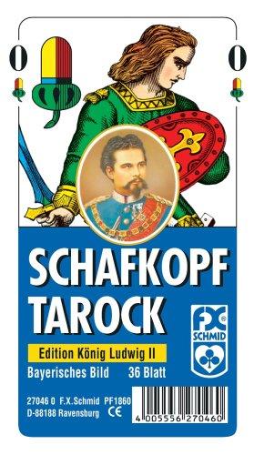 Ravensburger 27046 - Schafkopf/Tarot, Bayerisches Bild Edition König Ludwig II - 36 Blatt, glasklares Etui