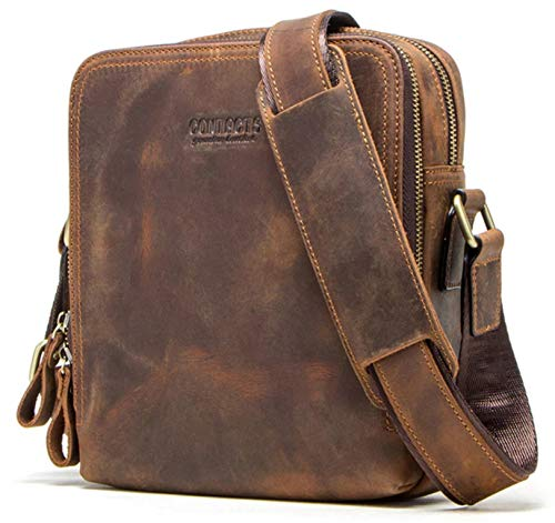 CONTACTS Genuine Leather Messenger Bag, Shoulder Bag, Handbag, Multi-Functional Travel (Hunter Brown)
