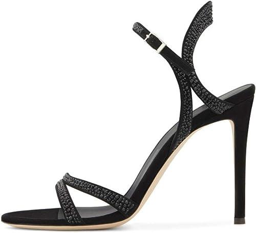 Mujer Sandalias de Tacón Alto Tacones de Aguja Punta Abierta Hebilla del Tobillo negro Vestido de Fiesta Gamuza zapatos de Tacón Alto,negro,EU41 UK9