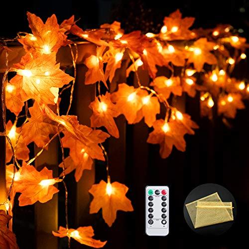 2 Pack Thanksgiving Lights,8 Modes Fall Maple Leaves String Light Thanksgiving Decorations,40 LEDs Fall Lights Decor for Autumn Garland Light...