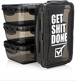 Hydra Prep - 3QTY, 30oz Reusable Meal Prep Storage Containers, BPA FREE, Food Containers with lids, Meal Prep Containers, Microwave Safe. [並行輸入品]