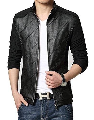 LOVECC Mens Jacket PU Pachwork Slim Fit Cotton Casual Jacket Black US: Small (Label Size XXL)