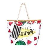 zedela Bolsa de playa grande con cremallera, Bolso de Mano de Lona Mujer, Shopper Bolsa (Sandía)
