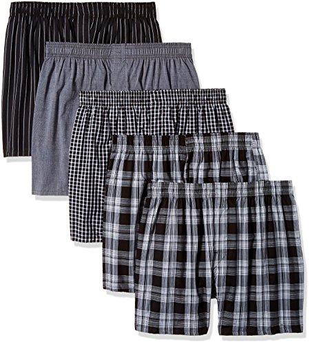 Gildan Platinum Men's Woven Boxers, Black Assorted, Medium, 5-Pack