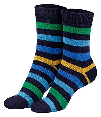 Piarini Piarini 2 Paar Kinder Stoppersocken ABS Socken Anti Rutschsocken Noppen Baumwolle Jungen Mädchen Navy Gr. 23 24 25 26