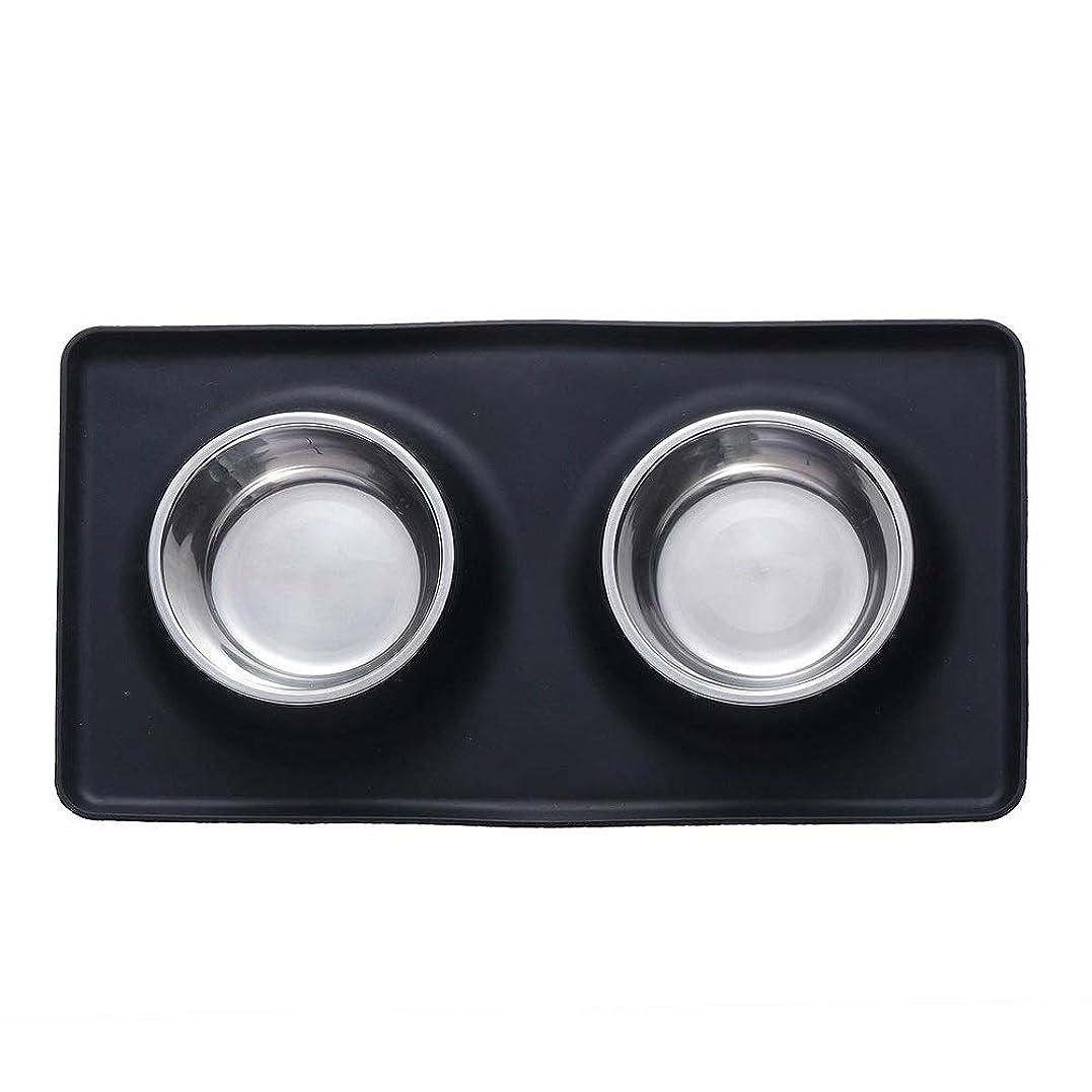 ピクニックをする与えるアクセスできないペット給水器 ステンレス鋼のペット犬猫ボウルシリコーンマット水食品フィーダー皿ペットボウルブラック その他の小動物 (Color : Black, Size : S)