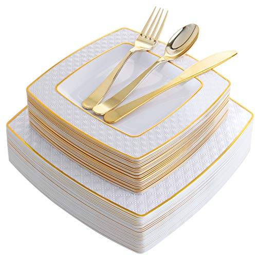 125 Pieces Gold Plastic Disposable Plates, Diamond Square Plates,New Gold Plastic Silverware, Includes: 25 Dinner Plates 9.5', 25 Salad Plates 7.6', 25 Knives, 25 Forks, 25 Spoons (Supernal)