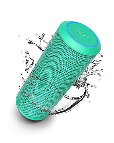 Zamkol Cassa Altoparlante Bluetooth 24W, IPX6 Portatile Wireless Speaker TWS & AUX & USB, 4.2 Bluetooth Subwoofer Shockproof Speakers, Audio Stereo 360 per Smartphone, Computer, TV, Viaggio, green