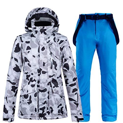 Hbao Damen Skibekleidung Snowboardanzug Schneekleidung Winter Outdoor Sport Kapuze wasserdichte schneesichere Jacke + Hose Damenanzug (Color : Color 1, Size : X-Large)