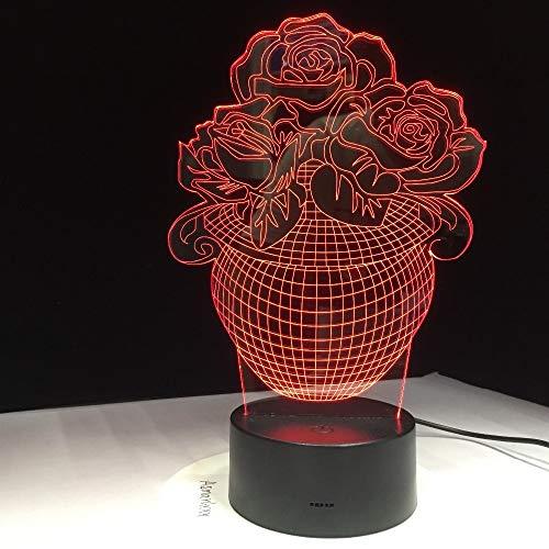 Rose Blumenkorb 3D Tischlampe Kinder Spielzeug Geschenk Lampe Sensor USB LED Nachtlicht Liebe betrieben Led Baby Freunde