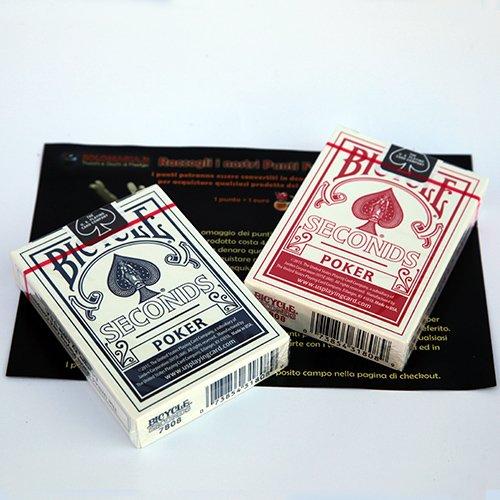 SOLOMAGIA 2 (Due) Mazzi di Carte Bicycle Seconds - Mazzo Regolare Formato Poker - Dorso Blu e Rosso