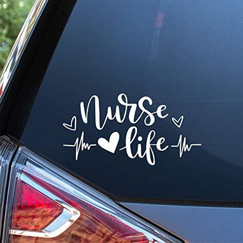 Sunset Graphics Decals Nurse Life Car Decal Sticker Cars Trucks Vans Walls Laptop White 7 x product image