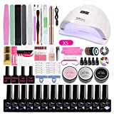 Nail Art Set, Nail Gel Extension Kit, Nail Extension Glue Set, Nail Polish Glue Professional con lámpara de uñas de Secado rápido Hogar para Principiantes, Principiantes