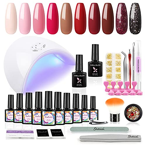 Shelloloh UV Gellak Nagels Nagellak Set 10 kleuren nageldesign Soak-off Gel met 36W Lamp LED+UV kit Nail Art Gel Polish