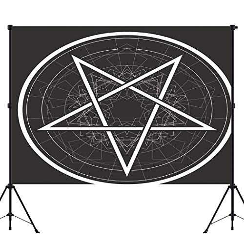 BEEQY Gothic Sign Photography Backdrop, Baphomet Star Reversed Pentagram Circle Vinyl Photo Background Photography Booth Props Wall Decoration, 10 x 10FT