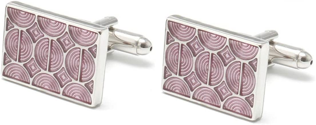 BO LAI DE Men's Cufflinks Square Pink Water Ripple Enamel Cuff Links Suitable for Business Events, Meetings, Dances, Weddings, Tuxedos, Formal Wear, Shirts, with Gift Boxes