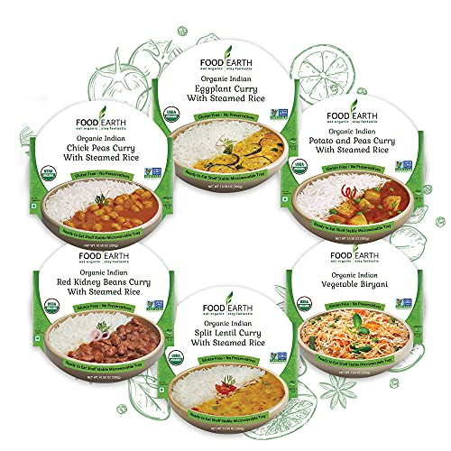 Food Earth - Indian Ready to Eat Meals, 6-Flavor Variety Pack, Packaged Indian Food, Pre-prepared Healthy Microwaveable Meals, Pack of 6
