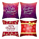 Beydodo Fundas de Cojín de Navidad,4 Fundas de Cojin Fundas Cojines 45X45 Nordico,Copo de Nieve Merry Christmas Púrpura...