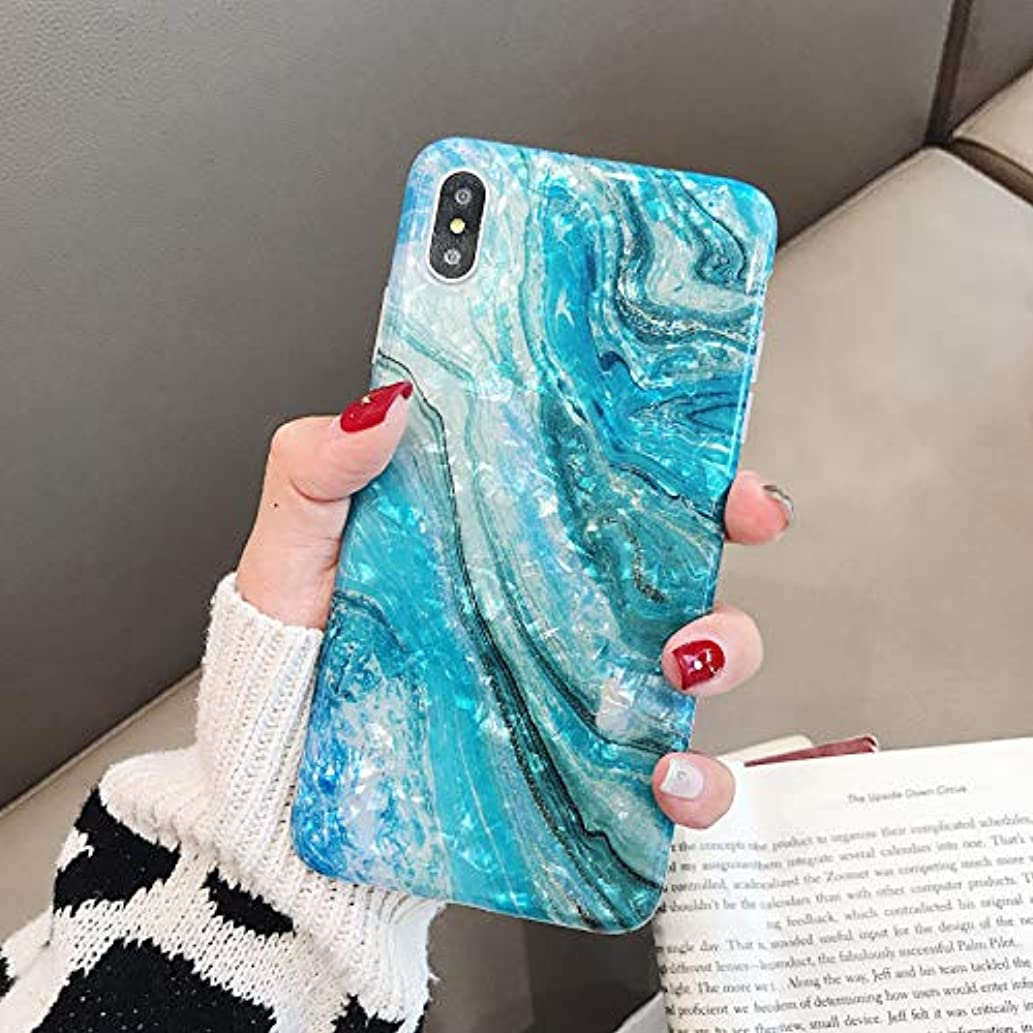 iPhone X/Xs Max Case Marble iPhone Xs Plus Case Girls Women Cute [Tinfoil] Pearly Glitter Phone Case Protective TPU Silicone Case for iPhone 10/Xs Max 6.5 inch (Pearlecent Aqua)