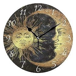 AHOMY Round Wall Clock Boho Sun Moon Stars Home Art Decor Non-Ticking Numeral Clock for Home Office