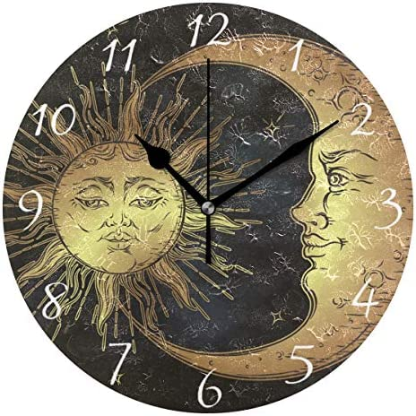 AHOMY Round Wall Clock Boho Sun and Moon Stars Home Art Decor Non Ticking Numeral Clock for product image