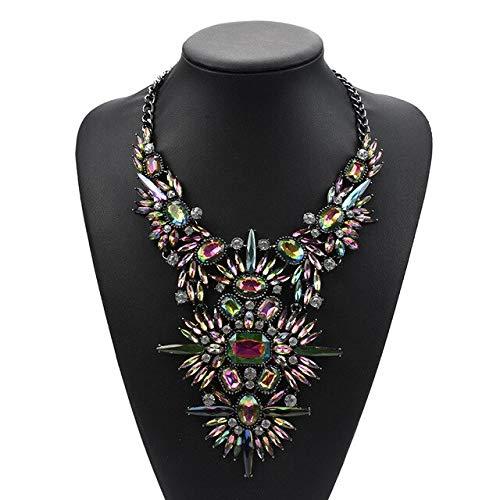 GYXYZB veelkleurige kristallen strass kwast halsketting dames grote choker halsketting charm chunky maxi Big Collar halsketting