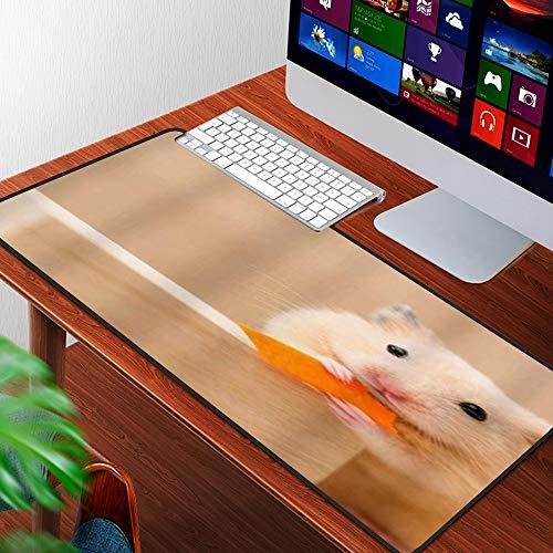 Luoquan Alfombrilla Raton Grande Gaming Mouse Pad,Animales Hámster Linda Mascota Comer Comida,Lavable, Antideslizante Diseñada para Gamers, Trabajo de Oficina