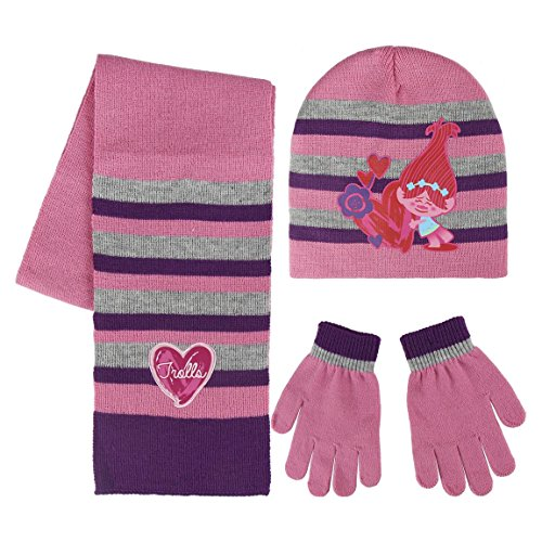 Trolls 2200002446 Poppy Winter Set voor kinderen, inclusief muts/handschoenen en sjaal, uniseks, roze (Rosa 001), één maat