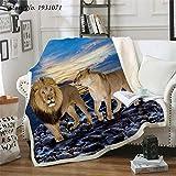 OQQE Tigre león Leopardo Manta de Lana Impresa en 3D para Camas Edredón Grueso Colcha de Moda Sherpa Manta de Tiro Adultos Niños 06,11,70x100cm