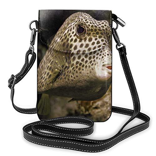 Trunkfish Manchado Hermosa Moda pequeña Cartera para teléfono Celular Bolso de Hombro Multiusos Cartera